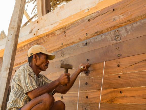 Buganees schip in aanbouw
